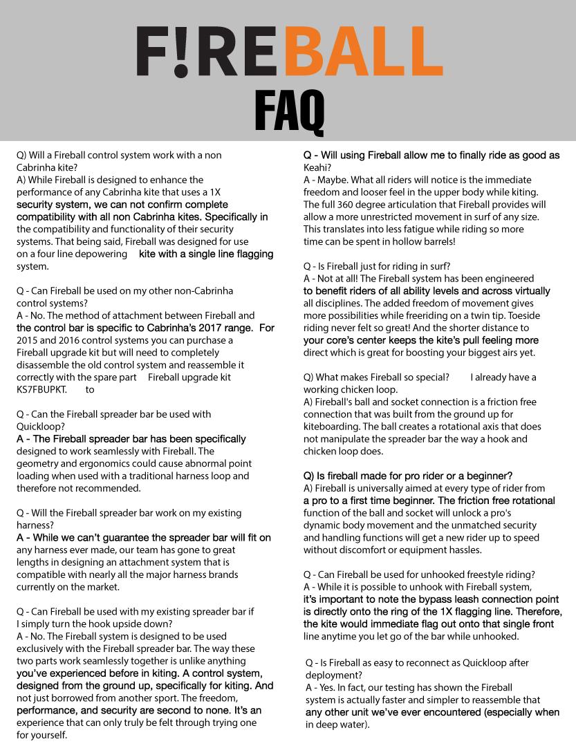 2017 Cabrinha Fireball FAQ - F!reball