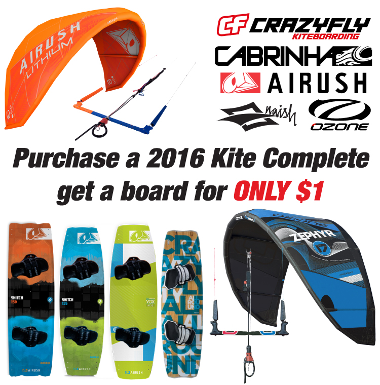 Kite Complete Packages and $1 Kiteboard Airush or CrazyFly