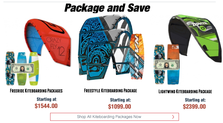 Freeride, Freestyle, and Lightwind Kiteboarding Packages